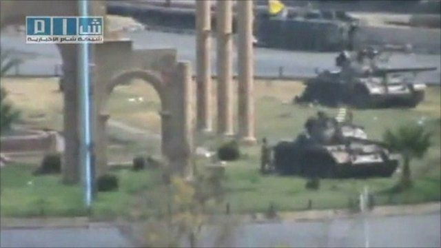 Still from footage posted online purporting to show tanks in Hama