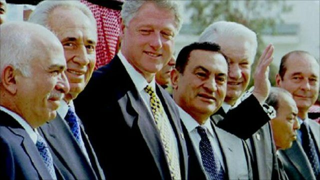 Hosni Mubarak, pictured fourth from left, with other world leaders