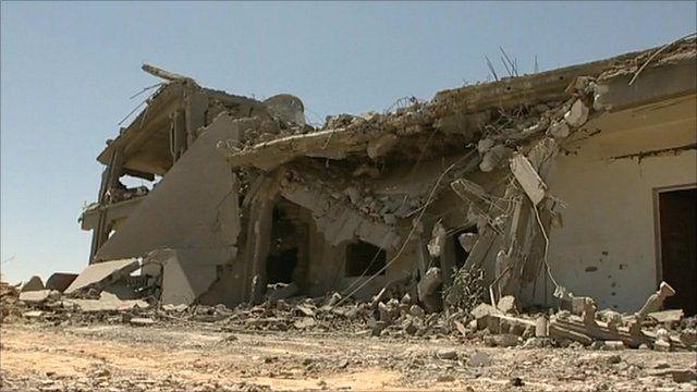 Demolished building in Zlitan