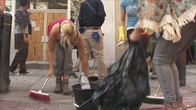 Clean up begins in Clapham