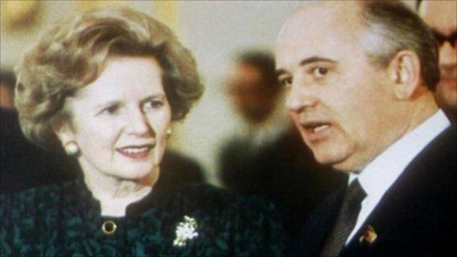 Margaret Thatcher and Mikhail Gorbachev