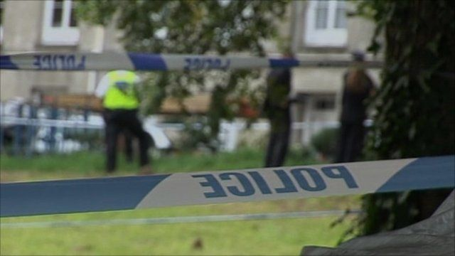 Police tape at the scene of a stabbing in Jersey