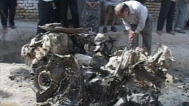 The aftermath of the blast in Kut