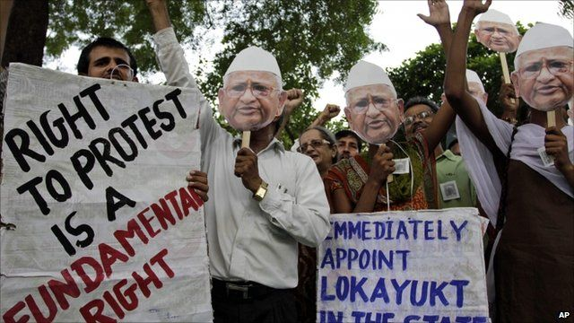 Supporters of Anna Hazare holding masks of the protester