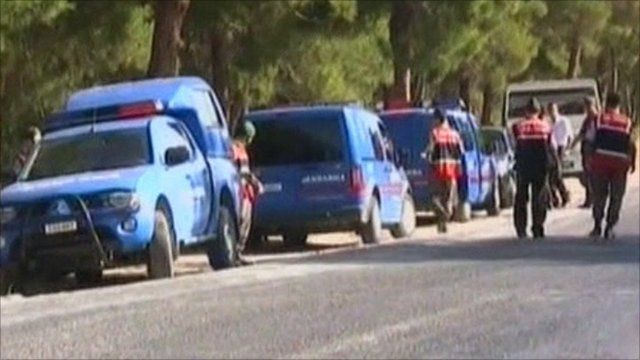 Police at the scene just outside of Izmir