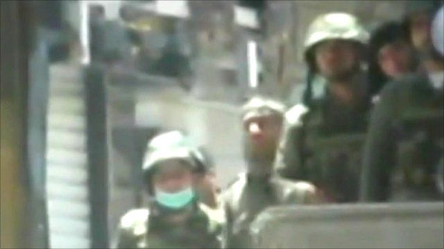 Amateur footage reportedly shows security forces on the streets