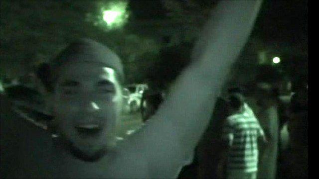 Rebe celebrates in Green Square
