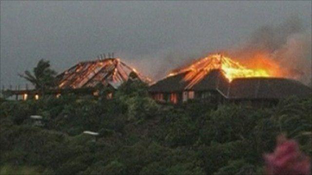 Burning house on Necker Island