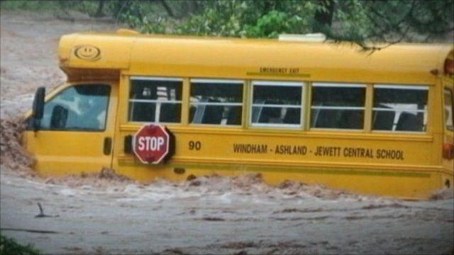 Bus in floods