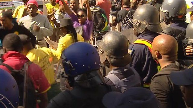 Police confront supporters of Julius Malema