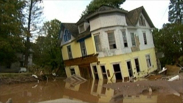 Flood damaged house