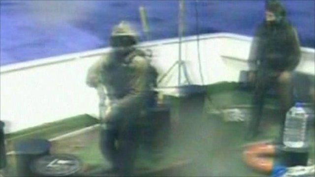 Israeli military personnel during raid on flotilla