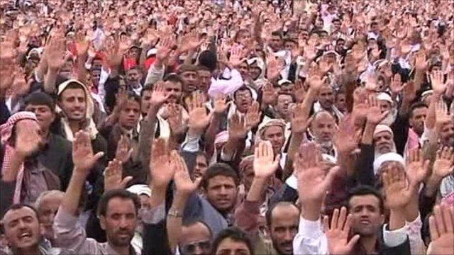 Thousands of protesters in Sanaa
