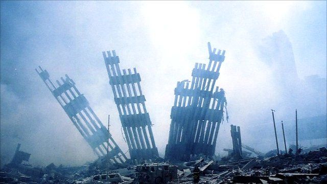 Ruins of the World Trade Center towers