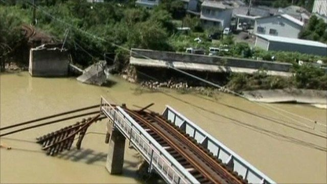 Collapsed bridge in Japan