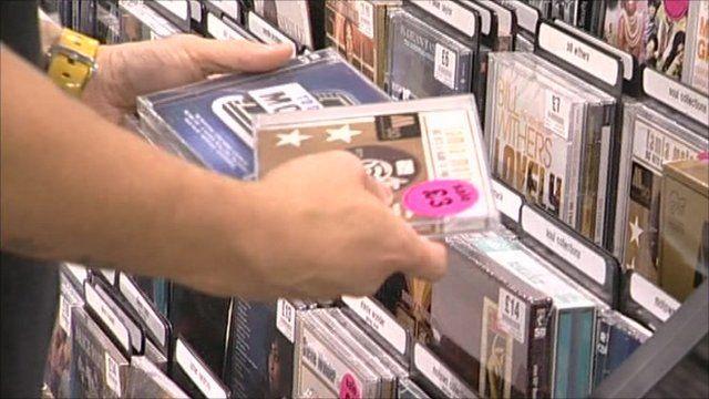 CDs in shop