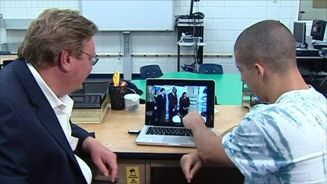 Lazaro Dubrocq shows Mark Mardell where in the classroom he was on 9/11