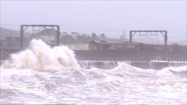 Railway battered by big waves at Saltcoats, Ayrshire