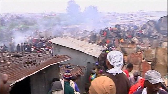 Aftermath of fires and explosion at Nairobi's Lunga Lunga industrial area
