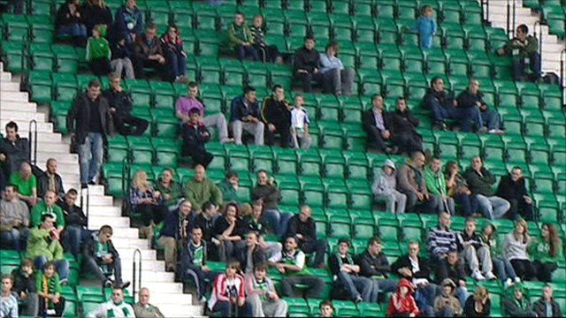 Empty seats during a Hibs game (Picture: BBC ALBA)