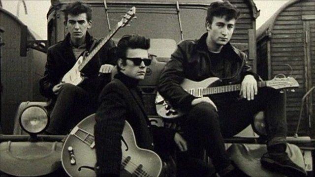 Photograph of George Harrison, Stuart Stucliffe, and John Lennon