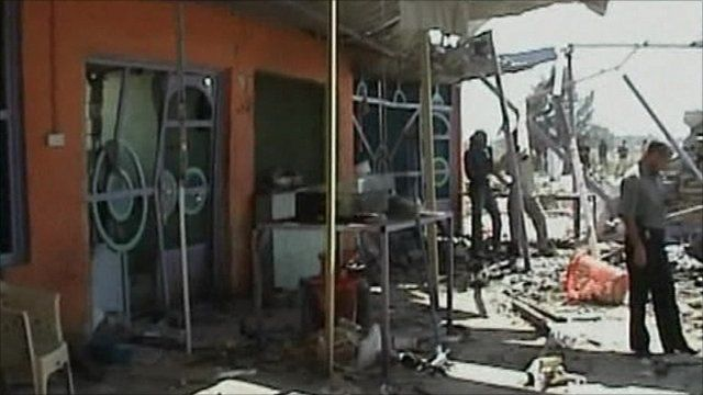 Damaged building after car bomb attack in Hilla