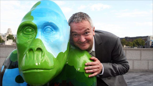 Piers Gibbon with one of the Gorilla statues