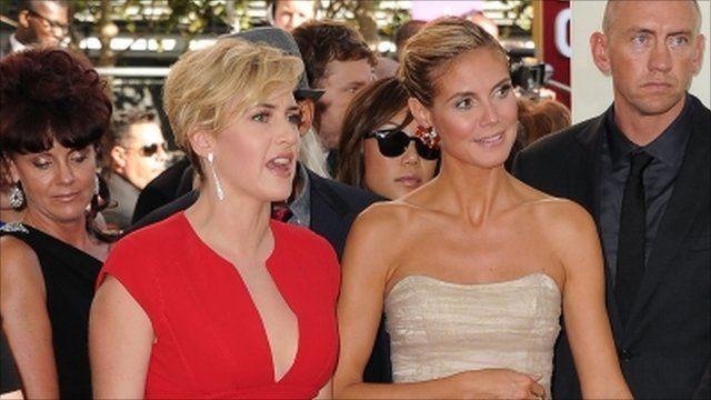 Kate Winslett and Heidi Klum arrive at the Emmy Awards