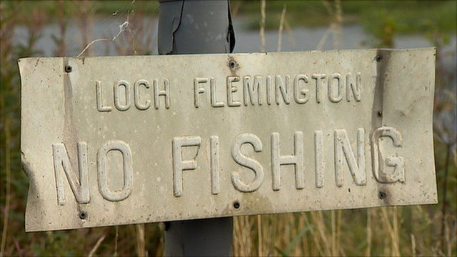'No fishing' sign at Loch Flemington