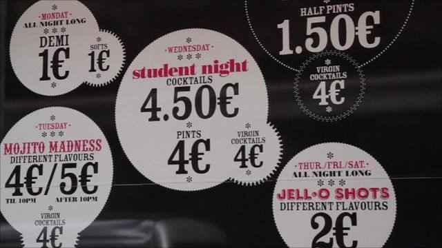 Cheap drinks signs in France