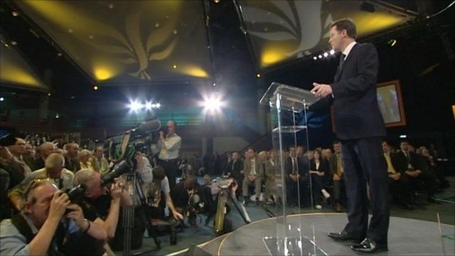 Nick Clegg addressing his party at the conference