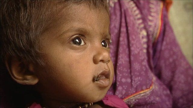 A child affected by the floods in Sindh