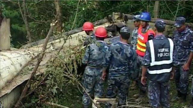 Scene of Nepal plane crash