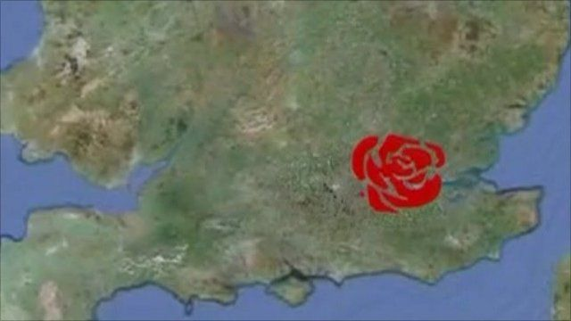 Map with Labour rose