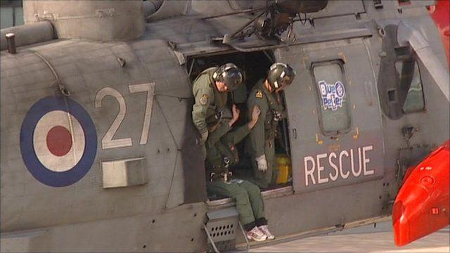Helen Skelton arrives in a helicopter