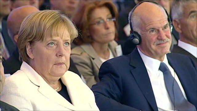 German chancellor Angela Merkel and Greek PM George Papandreou
