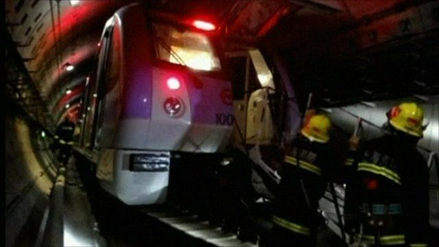 Rescue services inside the subway