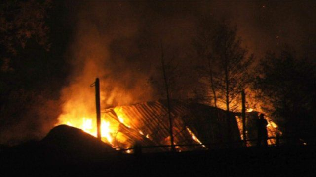Barn on fire on Friday night