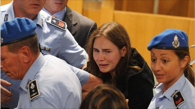 Amanda Knox being led out of court