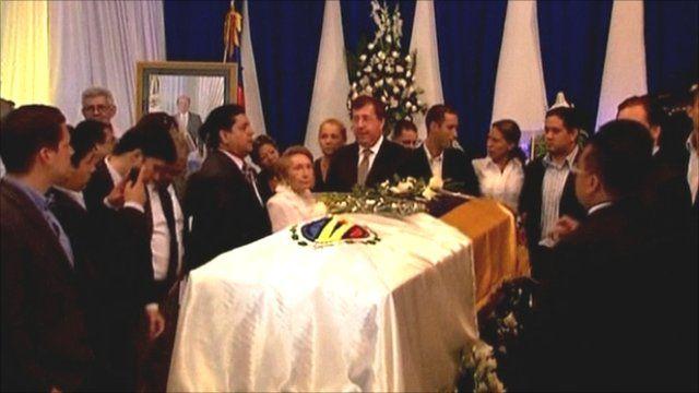 Coffin of former Venezuelan President Carlos Andres Perez