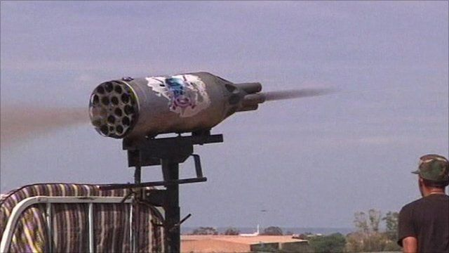 Rocket being fired towards Sirte
