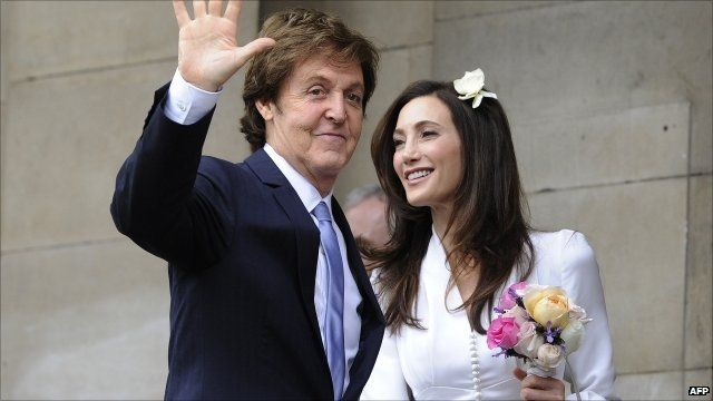 Sir Paul McCartney with Nancy Shevell outside Old Marylebone Town Hall