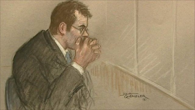 Court drawing of Vincent Tabak