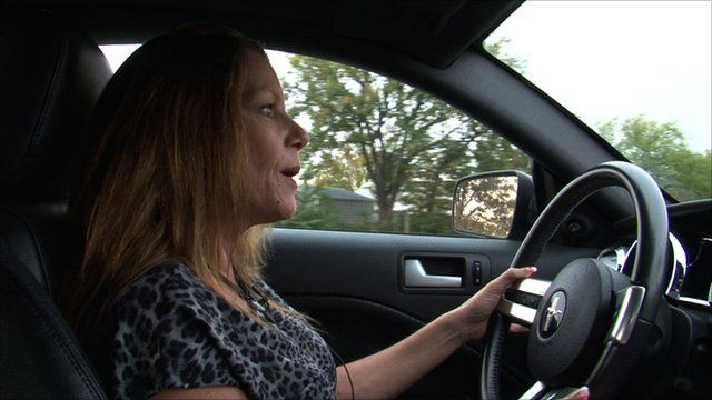 Cathy Fortney in her car
