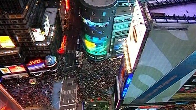 Aerial view of rally in Times Square, New York