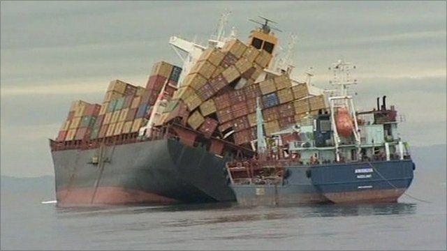 Stricken ship the Rena