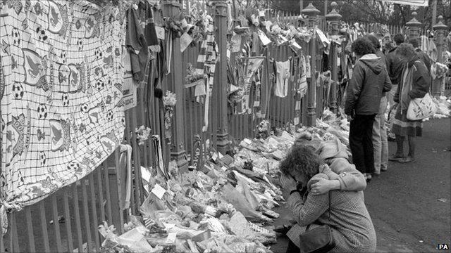floral tributes in front of Anfield in 1989