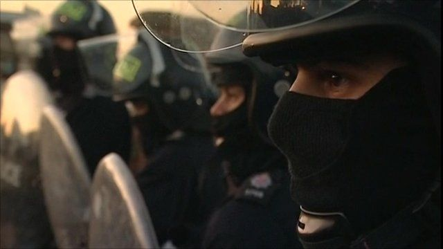 Police with riot shields
