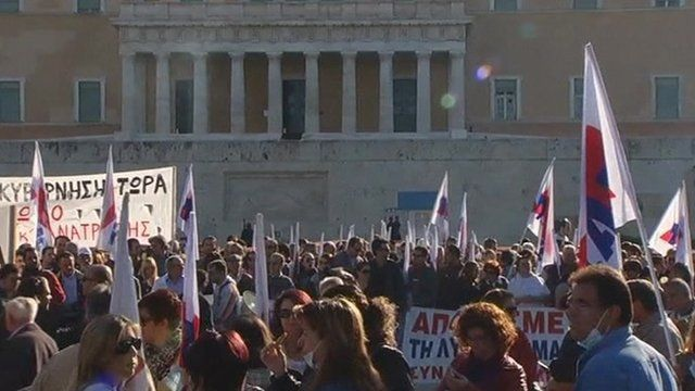 Protesters outside Greek parliament building