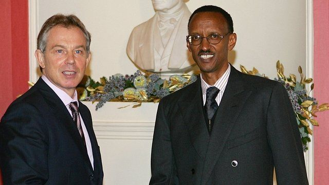 Tony Blair and Paul Kagame in London, 2006